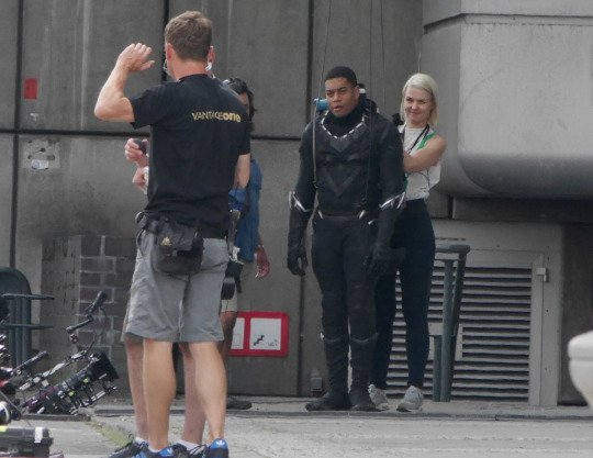 On the set of Captain America, Chadwick Boseman plays the Black Panther Featuring: Chadwick Boseman, Sebastian Stan Where: Berlin, Germany When: 12 Aug 2015