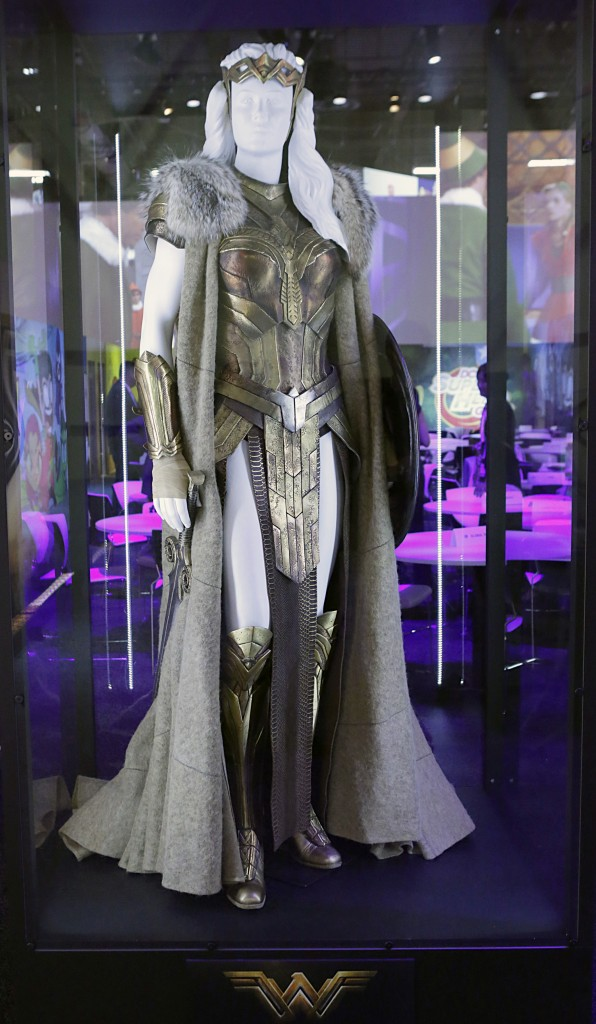 "The Queen Hippolyta costume worn by Connie Nielsen in the highly-anticipated film ""Wonder Woman"" is unveiled at the Warner Bros. Consumer Products booth at Licensing Expo 2016 on Tuesday, June 21, 2016 in Las Vegas. (Photo by Bizuayehu Tesfaye/Invision for Warner Bros. Consumer Products/AP Images)"