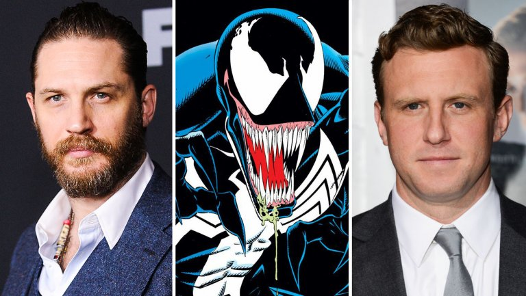 Courtesy of Marvel (Venom); Jason LaVeris/FilmMagic (Hardy), Jason Merritt (Fleischer), both Getty Images